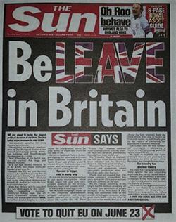 Britse tabloid The Sun roept op tot een Brexit.