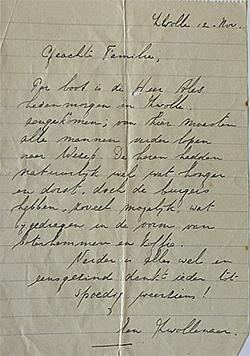 Brief van Gerrit Mes aan vrouw Maaike en zoontje Piet. Foto: Prive