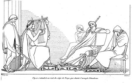 Demodocus de blinde bard zingt aan het hof van de Faiaken, over de held Odysseus zonder te weten dat die aan tafel aanzit. Odysseus kan zijn tranen bij de zang van Demodocus niet bedwingen.