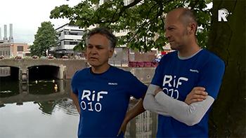 De initiatiefnemers Edwin van Viegen (r.) en Ruud Boel. Het uitverkoren plan RIF010 moet het 'Hart van Rotterdam' extra leven en nieuwe energie schenken.