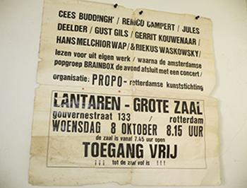 Hans Wap vond een paar weken geleden de legendarische eerste poster weer terug. De tekst 'toegang vrij' en 'Lantaren' winnen het qua grootte glansrijk van de dichtersnamen.