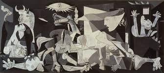 Het schilderij van Picasso voorstellende het onverdedigde Baskische dorp Guernica, telde tijdens het bombardement 5000 inwoners en er vielen 8oo (!) doden.