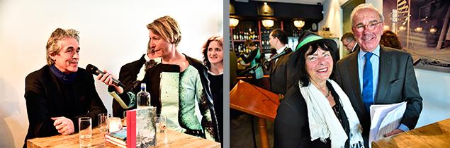 Foto links: Melanie Post van Ophem interviewt beeldend kunstenaar Hans Citroen. Foto: CBK/Max Dereta. Foto rechts: Frans Weisglas met dichteres Jana Beranová die een gedicht schreef bij de dia van Hotel Weimar op het monument. Foto: CBK/Max Dereta