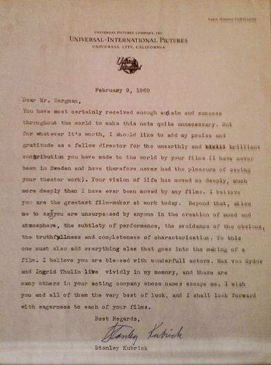 De brief die filmmaker Stanley Kubrick in 1960 schreef aan Ingmar Bergman.