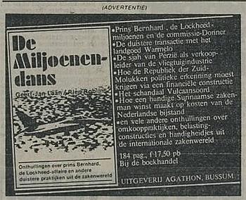 Het boek over de Lockheedaffaire (hier in een krantenadvertentie) verscheen onder de naam De Miljoenendans en liep direct als een trein. Toch kwam er geen tweede druk.