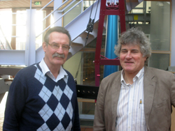 De vrienden Joop Roodenburg (rechts) en Richard Krabbendam (links) in 2009. Beiden hebben het gemaakt in de offshore-toelevering. Foto: Hans Roodenburg