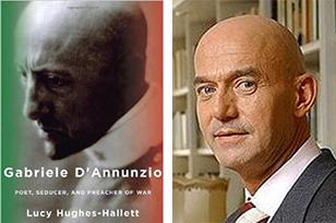 De overeenkomsten tussen d'Annunzio (l.) en Fortuyn zijn opvallend. 'De gepolijste kale kop', il testa di ferro - óók al door Mussolini geplagieerd - waarom Gabriele d'Annunzio door zijn volgelingen 'de Goddelijke Kale' werd genoemd. En het operette-achtige militarisme van Duce d'Annunzio en het dito salueren, 'At your service!', van Pim Fortuyn.