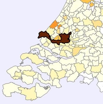 De generaties van Rotterdam zijn van de drie grote steden het meest in eigen stad blijven wonen. Lichtere kleuren duiden op minder uitwaaieren naar andere woongebieden van volgende generaties. Grafiek: Meertens Instituut