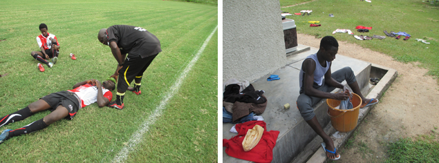 Waar in Nederland zie je jongens na een pittige training op een veldje zitten met een teiltje voor zich, waarin ze hun (voetbal)kleding wassen en op het grasveld neerleggen om te drogen?