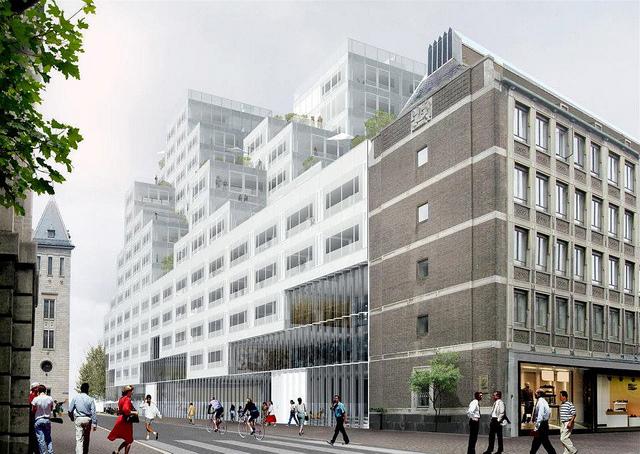 Tot twaalf hoog geven de appartementen van het Timmerhuis de indruk van 'een huis met een tuin, midden in de stad', zoals een van de architecten van Koolhaas zegt. Impressie: Koolhaas