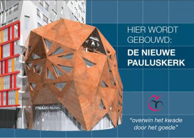 Poster van het ontwerp van de nieuwe Pauluskerk.