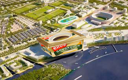 De vorm van het reusachtige nieuwe stadion op zuid heeft veel weg van... een Goudkuipje.