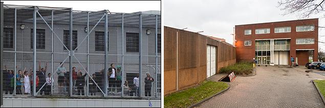 Het detentiecentrum in Zeist (links) en de gevangenis (pi) in Alphen aan de Rijn.