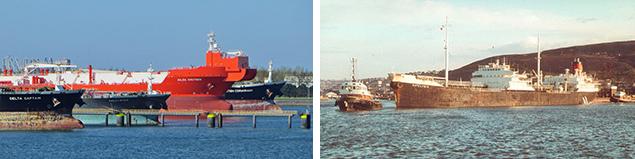 Links de (7e) petroleumhaven met enkele tankers. Rechts de KATELYSIA een tanker van Shell uit 1954.