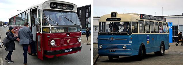De oldtimers van de stichting 'Veteraan autobussen' die onderweg door de stad veel bekijks trokken pendelden gratis naar de meeste locaties.